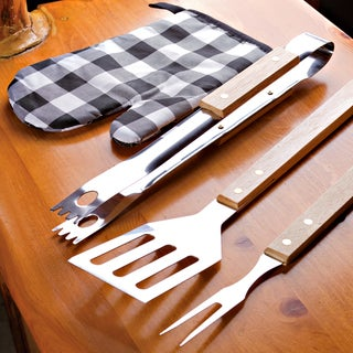 4 Piece Barbecue Set with Stainless Steel Fork, Spatula, Tongs and Mitt