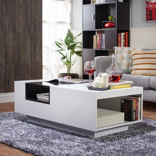 Shop Kassalie Contemporary White Glass Top Coffee Table by ...