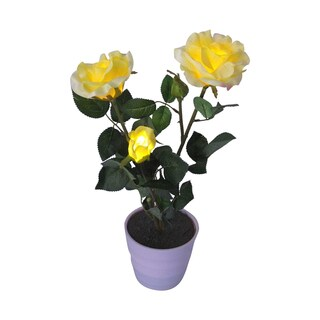 Creative Motion Home 19-inch 3-LED Warm White Decorative Lighted Yellow Roses with Vase