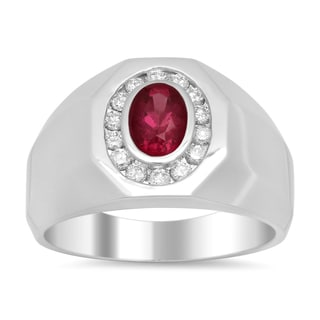 14k White Gold 2/5ct TDW Diamond and 1ct TGW Ruby Ring (E-F, SI1-SI2)