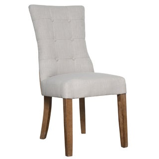 Kosas Home Hand-tufted Sienna Charcoal Linen Blend and Burlap Dining Chair