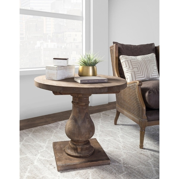 647cb337aec Shop Carolina Reclaimed Wood Round End Table by Kosas Home - On Sale ...