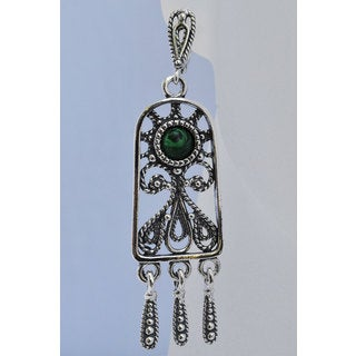 "Gorgeous Hypoallergenic Earrings ""Krasa"" with Malachite stones"