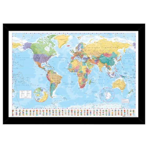 World Map Print with Traditional Black Wood Frame