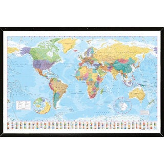 World Map Wall Plaque (36 inches x 24 inches)
