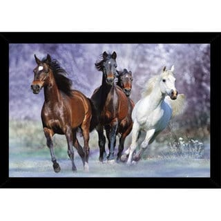 Wild Horses Print (36 inches x 24 inches) with Traditional Black Wood Frame
