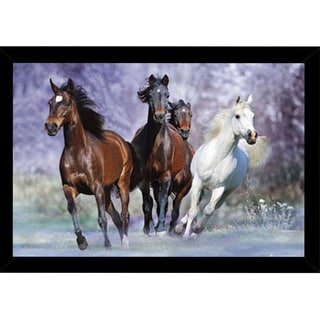 Wild Horses Print (36 inches x 24 inches) with Contemporary Poster Frame