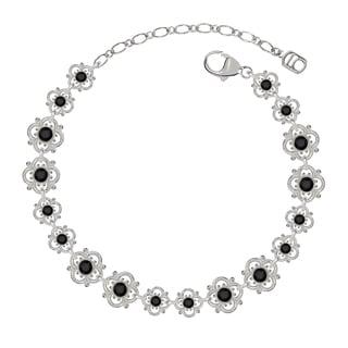 Lucia Costin Sterling Silver Black Crystal Delicate Flower Bracelet