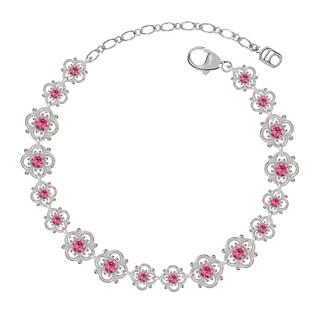 Lucia Costin Sterling Silver Pink Crystal Bracelet