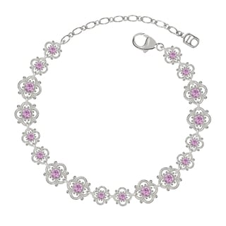 Lucia Costin Sterling Silver Lilac Crystal Cute Dot Bracelet