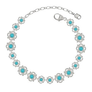 Lucia Costin Sterling Silver Turquoise Crystal Flower Bracelet