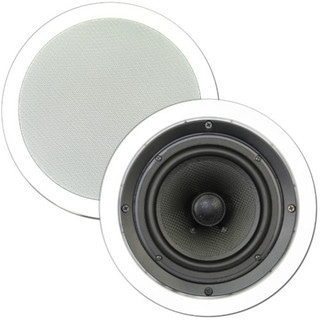 Theater Solutions TS65C In Ceiling 6.5-inch Surround Sound Home Theater Round Kevlar Speaker Pair
