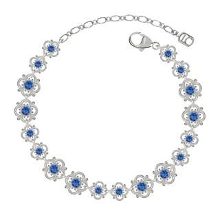 Lucia Costin Sterling Silver/ Blue Crystal Bracelet