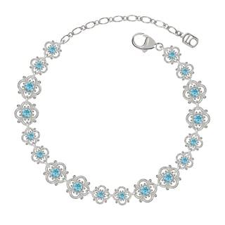 Lucia Costin Sterling Silver Light Blue Crystal Dot Bracelet