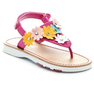 JELLY BEANS ROCAT Girl's Comfort Flower Embellishment Thong Flat Sandals