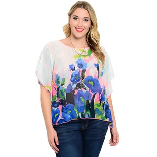 Shop the Trends Women's Plus Size Short Floral Print Flutter Sleeve Chiffon Blouse