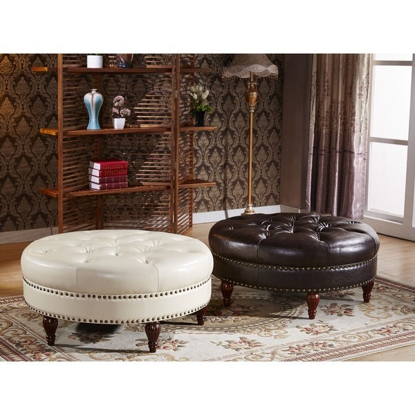 Castillian Premium Selcted Faux Leather Round Ottoman Bench With Nailhead Trims