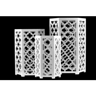 Wood Coated White Finished Moroccan Hexagonal Nesting Accent Table (Set of 3)