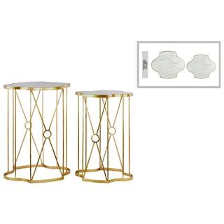 Metal Nesting Table with Wood Top Set of Two Coated Finish Gold