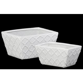 Ceramic Gloss White Finished Rectangular Flower Pot with Embossed Diagonal Design and Tapered Bottom (Set of 2)