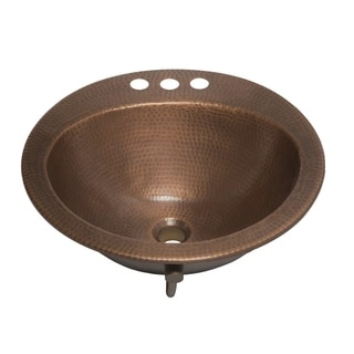 Sinkology Bell 19 inch Drop-in Copper Sink with 4 in. Faucet Holes and Overflow in Antique Copper