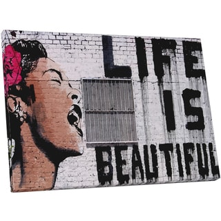 Bansky 'Life is Beautiful' Gallery Wrapped Canvas Wall Art