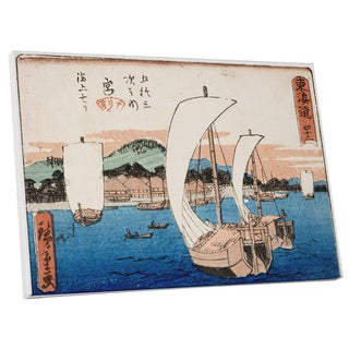 Hiroshige 'Sailboats' Gallery Wrapped Canvas Wall Art