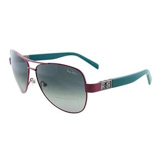 Nicole Miller Women's 'Stone' Pink and Green Metal Aviator Sunglasses