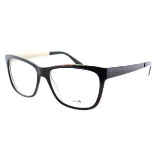 Gucci Women's Black Crystal Gold Plastic Rectangluar Eyeglasses