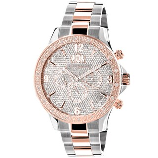 Luxurman Mens Two-Tone White Rose Goldplated Diamond Swiss Watch