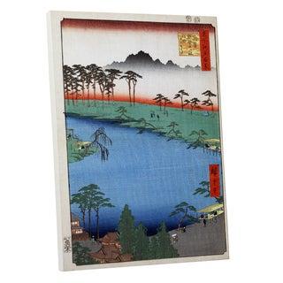 Hiroshige 'Kumanojunisha Shrine' Gallery Wrapped Canvas Wall Art