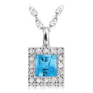 10K Princess cut Blue Topaz and Diamond Pendant