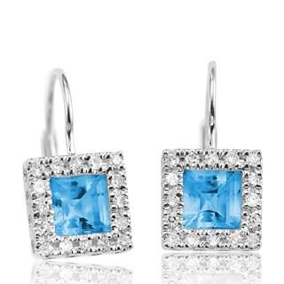 10K Princess-cut Blue Topaz and 1/5ct TDW Diamond Earrings