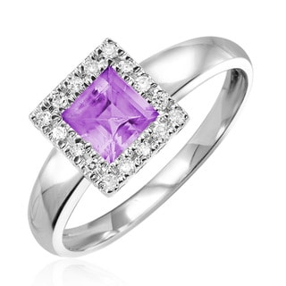 10k White Gold Amethyst with Diamond Accents Ring (Size 6.5)