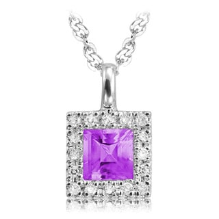10k Princess cut 1/10ct TDW Diamond and Amethyst Pendant
