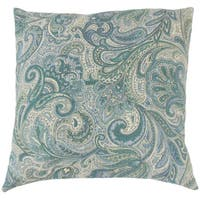 Vilette Paisley 18 -inch Down and Feather Filled Throw Pillow