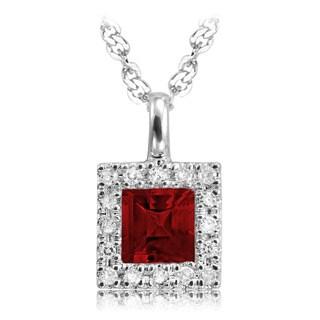 10K Princess cut Garnet and 1/10ct TDW Diamond Pendant