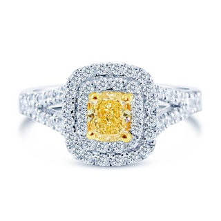 14k Two-Tone Gold 1 1/4ct TDW Fancy Yellow and White Diamond Double Halo Ring