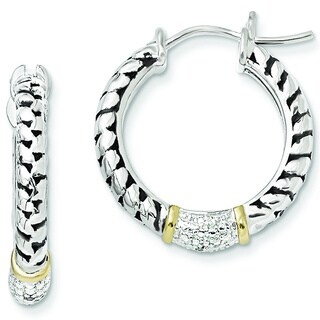 Versil Shey Couture Sterling Silver and 14k Yellow Gold 1/10ct TDW Diamond Hoop Earrings