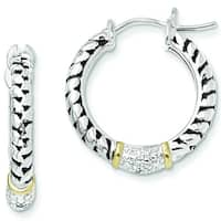 Versil Shey Couture Sterling Silver/14 Karat gold 1/10ct Diamond Hoop