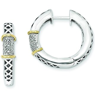 Versil Sterling Silver 14k Yellow Gold Diamond Accent Hinged Hoop Earrings