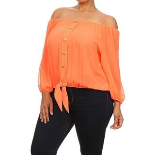 MOA Collection Women's Plus Size Bubble Sleeve Button Shirt