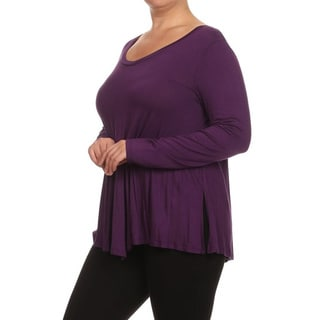 MOA Collection Women's Plus Size V-Neck Solid Top