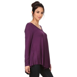 MOA Collection Women's Solid V-Neck Long Sleeve Top