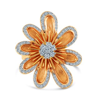 14k Rose Gold 1/2ct TDW Flower Ring (VS1-VS2, G-H)