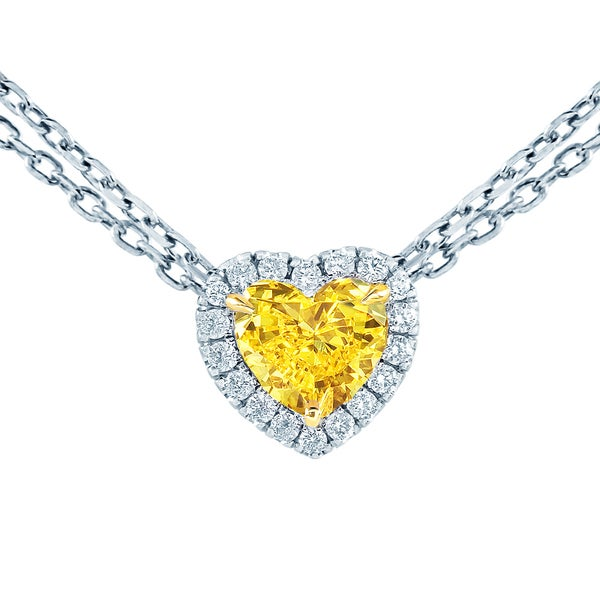 a054c833f791f 18k White Gold 1ct TDW Fancy Yellow and White Diamond Heart Shaped Pendant