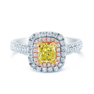 14k Three-Tone Gold 1 3/5ct TDW Fancy Yellow and White Diamond Double Halo Ring