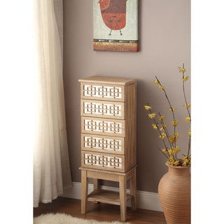 Linon Talia Wood and Mirror Jewelry Armoire