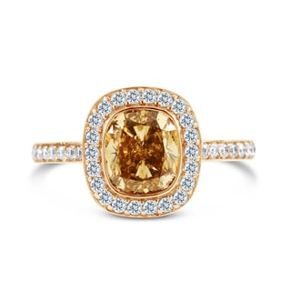 14k Rose Gold Certified 2 1/2ct TDW Cushion-cut Yellow Diamond Ring (G-H, VS1-VS2)