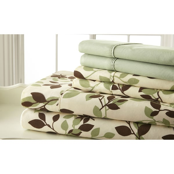6-piece Luxurious 100GSM Green and Brown Leaves Printed Sheet Set